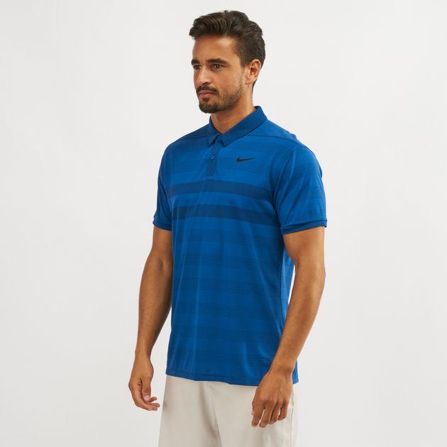 90448bcc2 Shop Blue Nike Golf Zonal Cooling Striped Polo T-Shirt | Polo Shirts ...