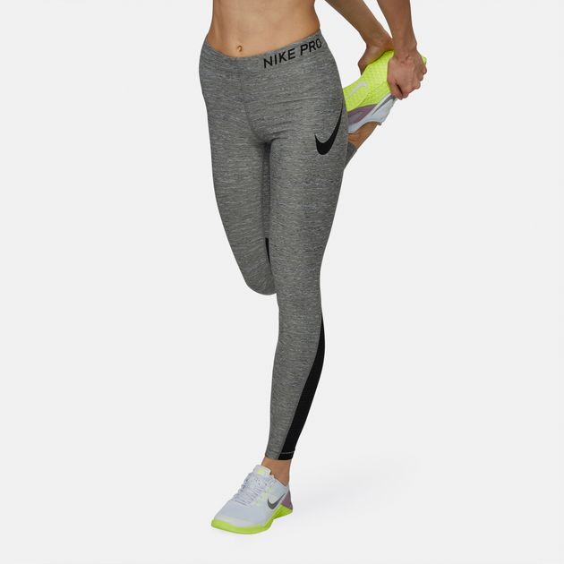 24a2b7159e918 Shop Grey Nike Pro Heather Training Leggings for Womens by Nike   SSS