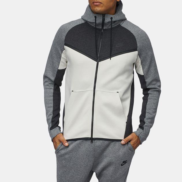 ba4c46f58a Shop Grey Nike Sportswear Tech Fleece Windrunner Full Zip Hoodie for ...