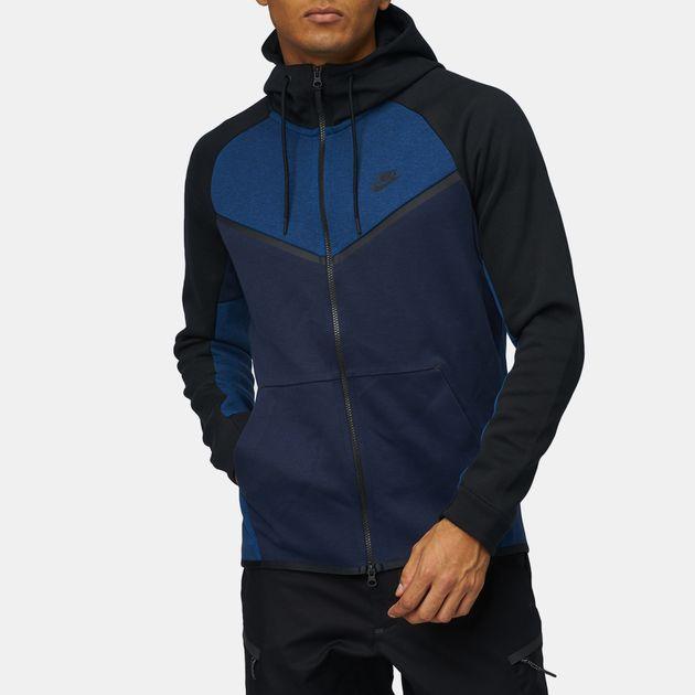b06f55b385f9 Shop Blue Nike Sportswear Tech Fleece Windrunner Full Zip Hoodie for ...