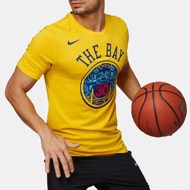 Shop Yellow Nike NBA Golden State Warriors Dry Basketball T-Shirt ... 0cc0c32935c