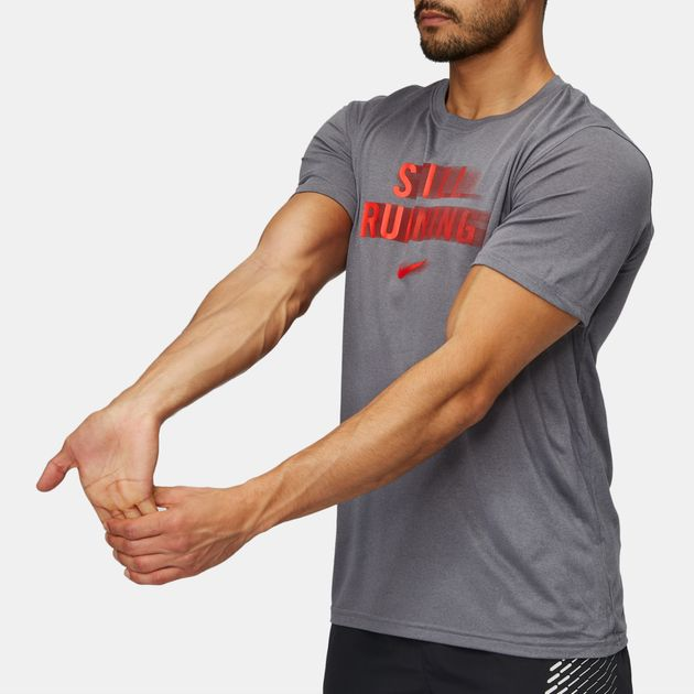 ef57a0237 Shop Grey Nike Dri-FIT Legend Fast Life Running T-Shirt for Mens by ...