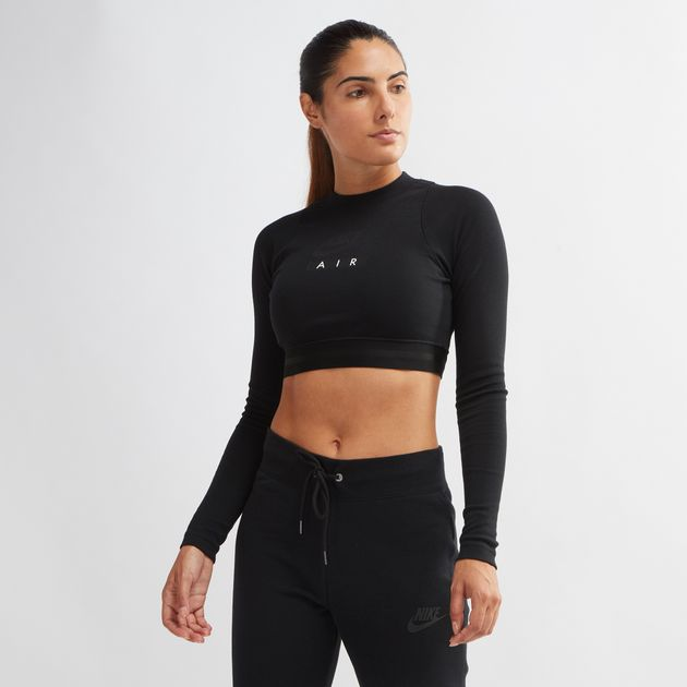 a83821333 Shop Black Nike Air Sportswear Long Sleeve Crop Top for Womens by ...