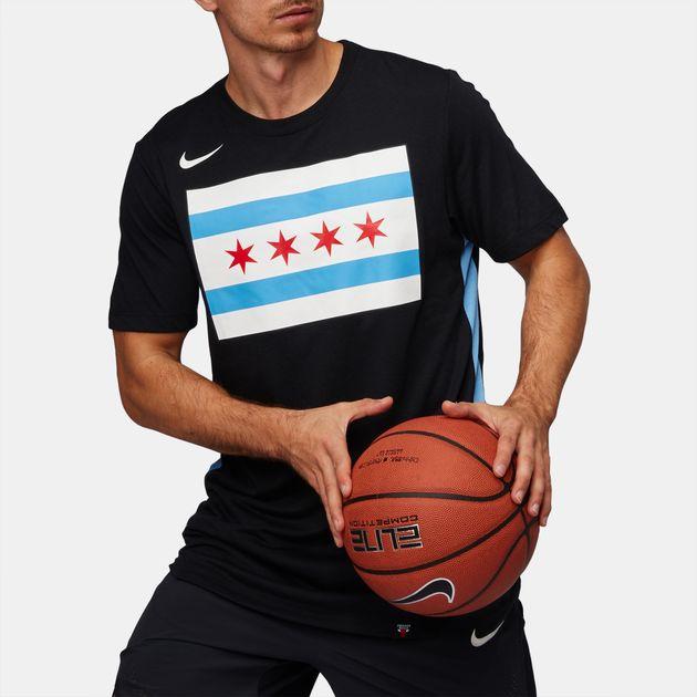 huge discount 01f3b 9489b Shop Black Nike NBA Chicago Bulls Dry City Edition T-Shirt ...