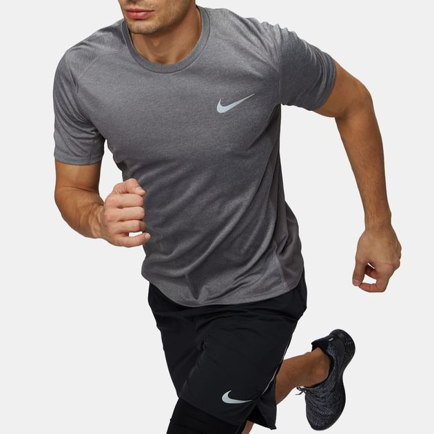 44f4ffd0bb7a2 Shop Grey Nike Dry Miler Short-Sleeve Running T-Shirt for Mens by ...