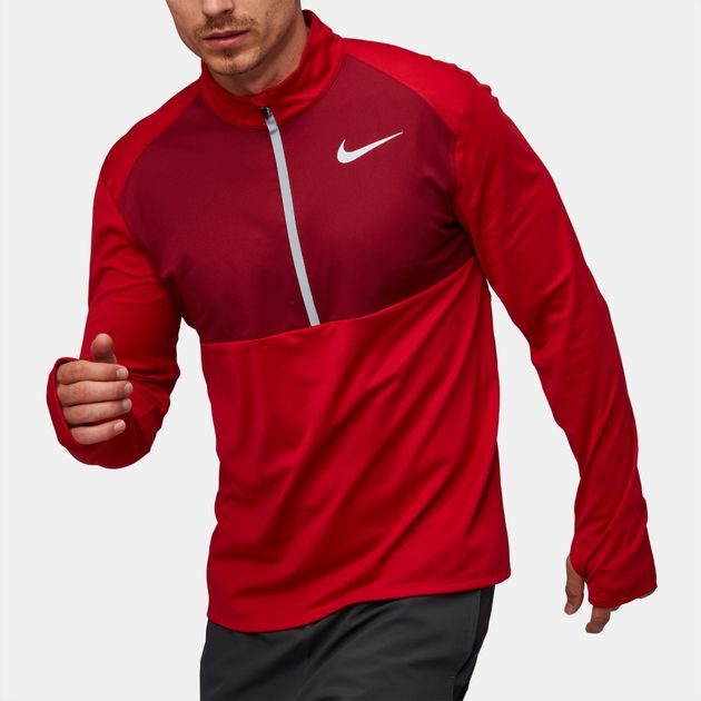 13db9beff389 Shop Red Nike Core Half Zip Long Sleeve Running Top for Mens by Nike ...