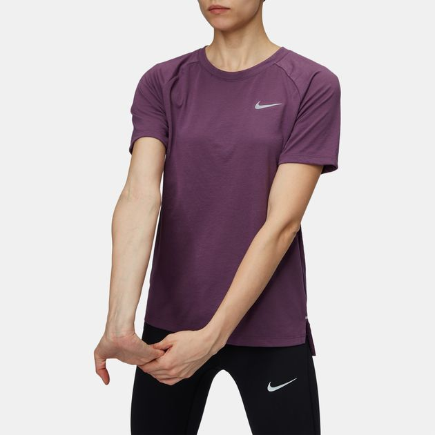 11044471 Shop Purple Nike Breathe Tailwind Running T-Shirt for Womens by Nike ...
