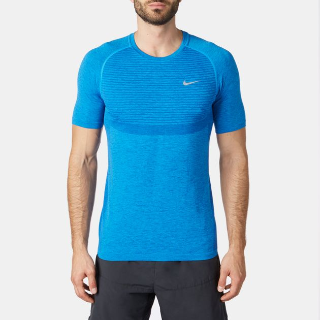Shop Blue Nike Dri FIT Knit Short Sleeve T Shirt for Mens by