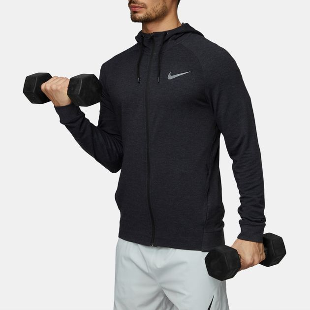 6ef55ff588c1 Shop Black Nike Dri-FIT Full-Zip Training Hoodie for Mens by Nike