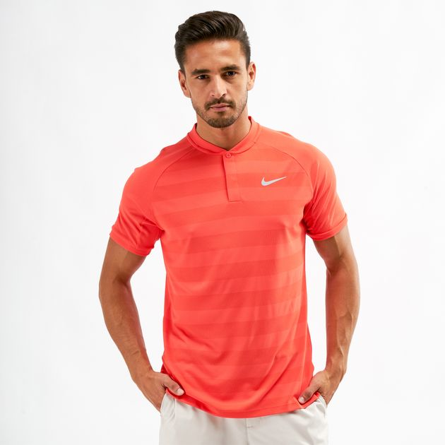 c692c6d48b Shop Orange Nike Golf Zonal Cooling Momentum Slim Fit Striped Polo T ...