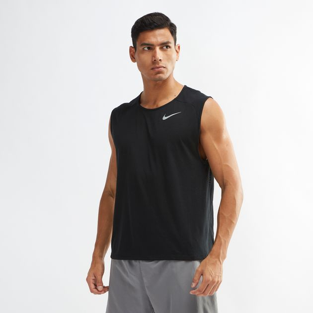 68bea5d0044bfa Shop Black Nike Rise 365 Running Tank Top for Mens by Nike