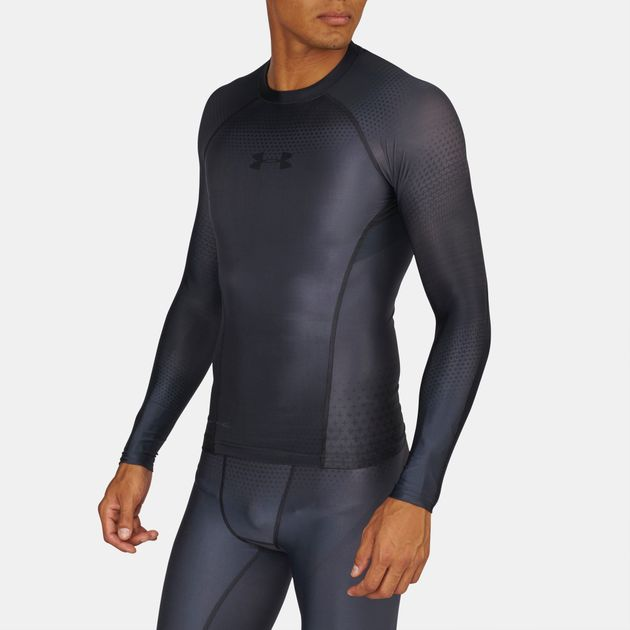 4c9623928 Shop Grey Under Armour Charged Compression Long Sleeve T-Shirt for ...