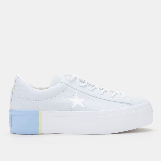 Shop Blue Converse One Star Platform Tri Block Midsole Shoe for ... a70c1d98ca