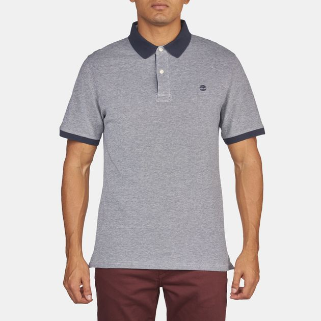 fd74f2ca Shop Blue Timberland Millers River Oxford Short Sleeve Polo Shirt ...