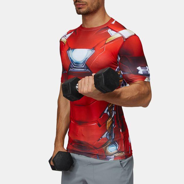e46afa7d3ac15 Shop Red Under Armor Alter Ego Iron Man Compression T-Shirt for Mens ...