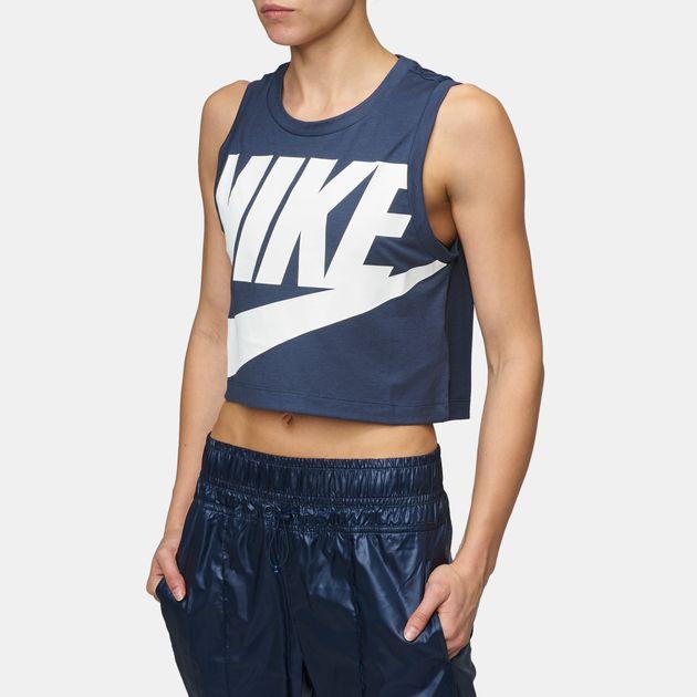 cbb745e89b4214 Shop Blue Nike Sportswear Essential Tank Top for Womens by Nike 9