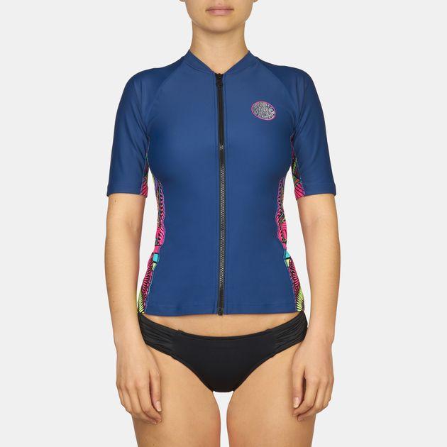 Rip Curl Warrior Belle Zip Thru UV Rash Vest T-Shirt