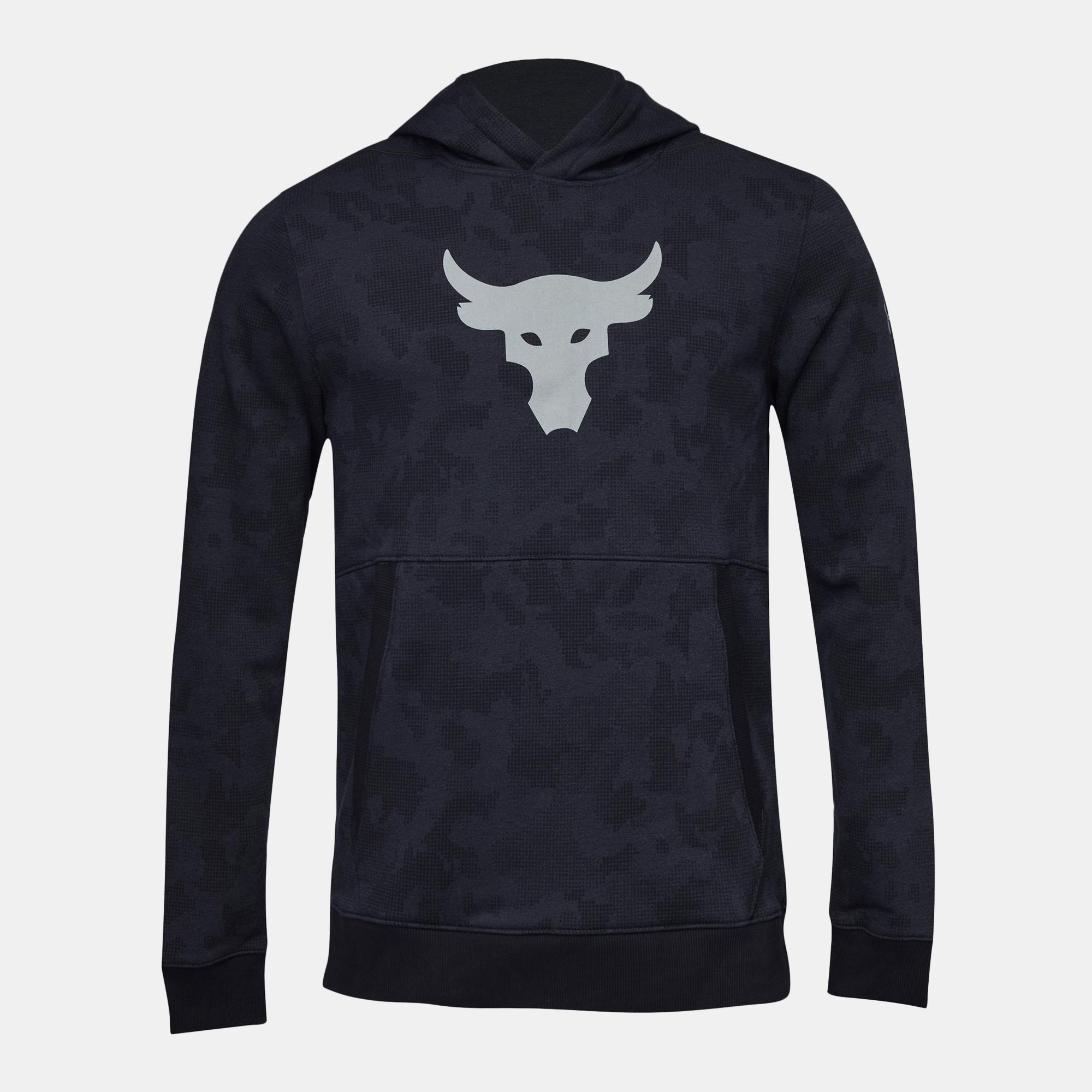 Shop Black Under Armour Project Rock UA Threadborne Fleece Hoodie ... 78835605fe9