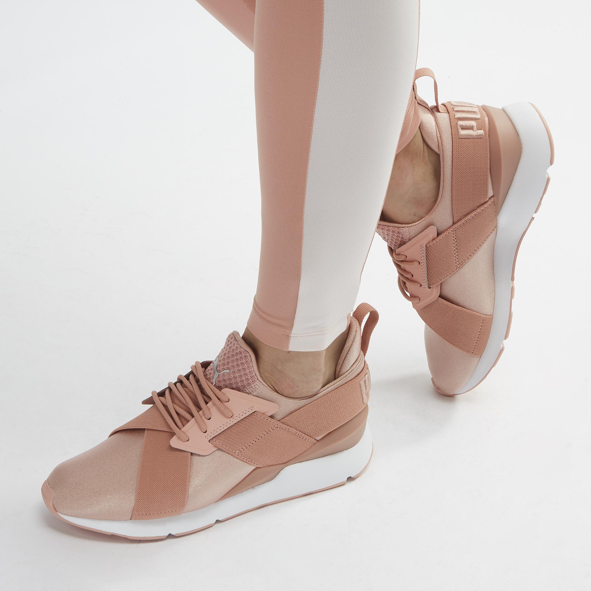 Shop Pink PUMA En Pointe Muse Satin Training Shoe for Womens