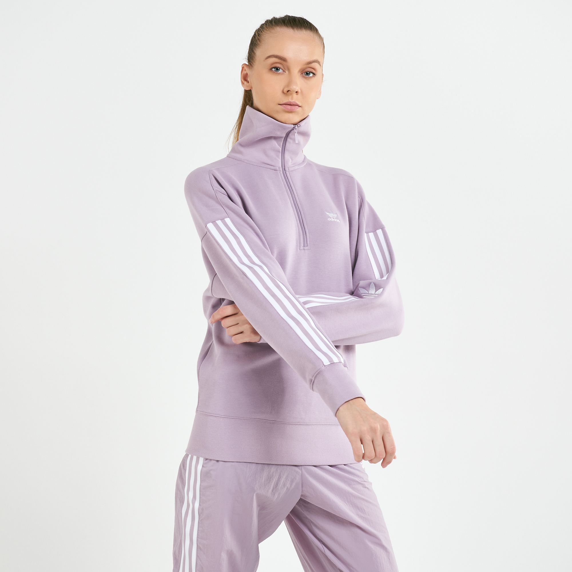 adidas Originals Women's Adicolor Half Zip Lock Up Sweatshirt