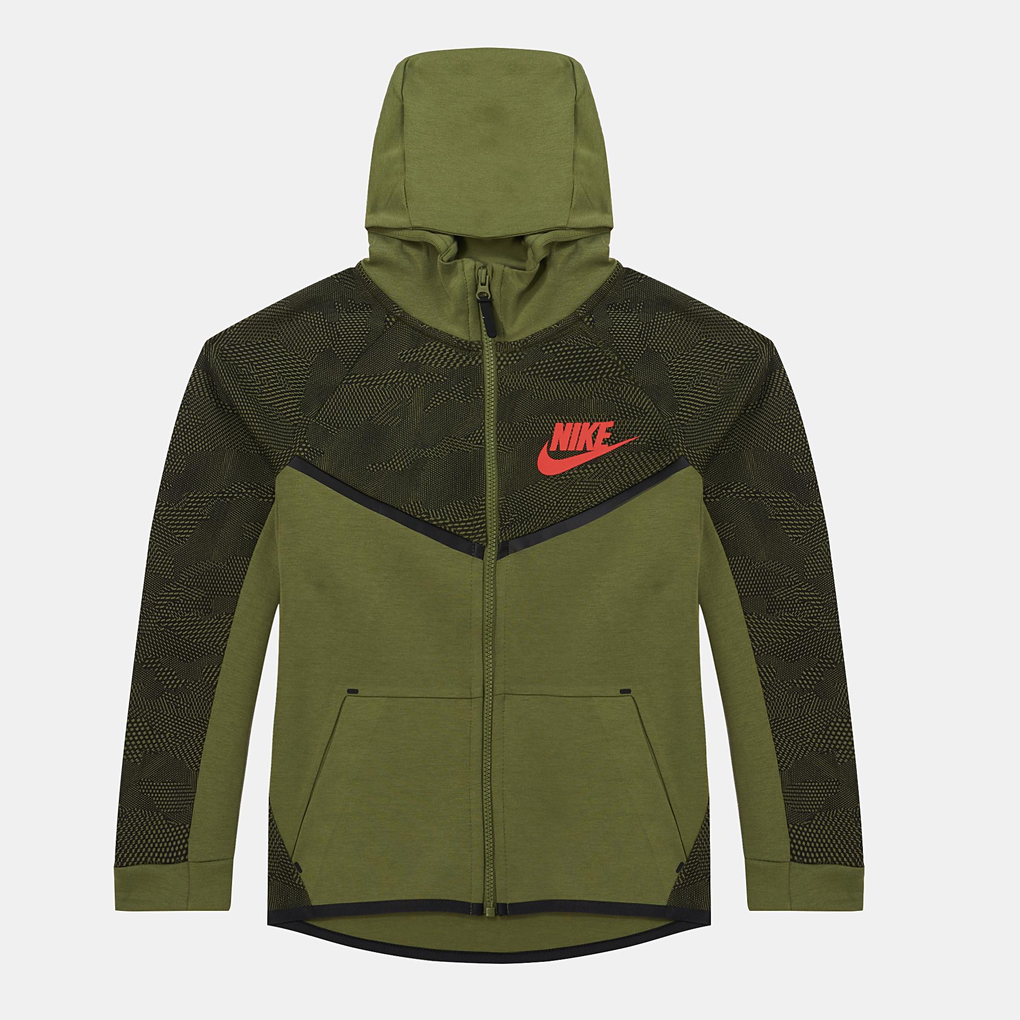 f04169d1256b Shop Green Nike Kids  Tech™ Fleece Hoodie for Kids by Nike