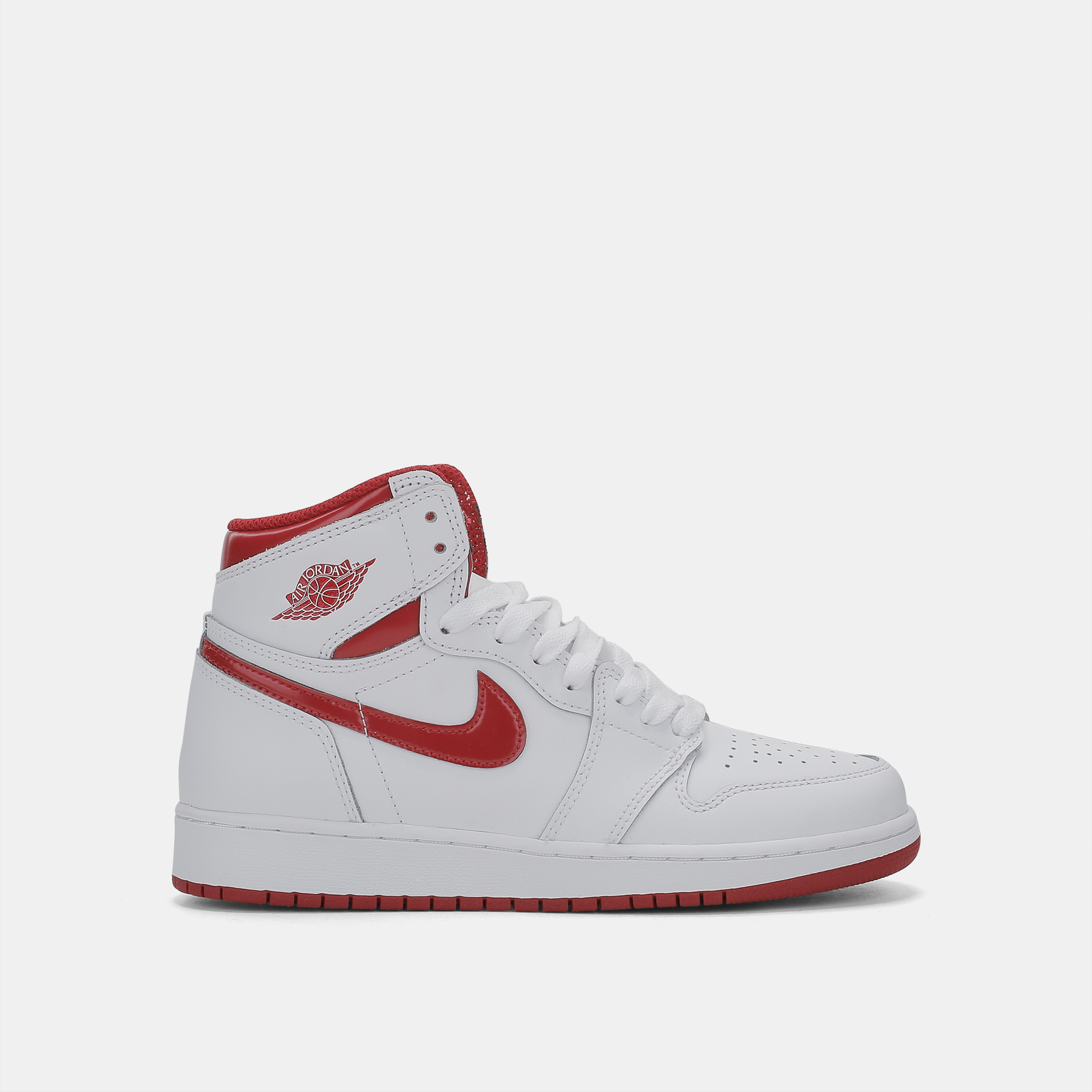 Shop White Nike Kids  Air Jordan 1 Retro High-Top Basketball Shoe ... 7f17905e9