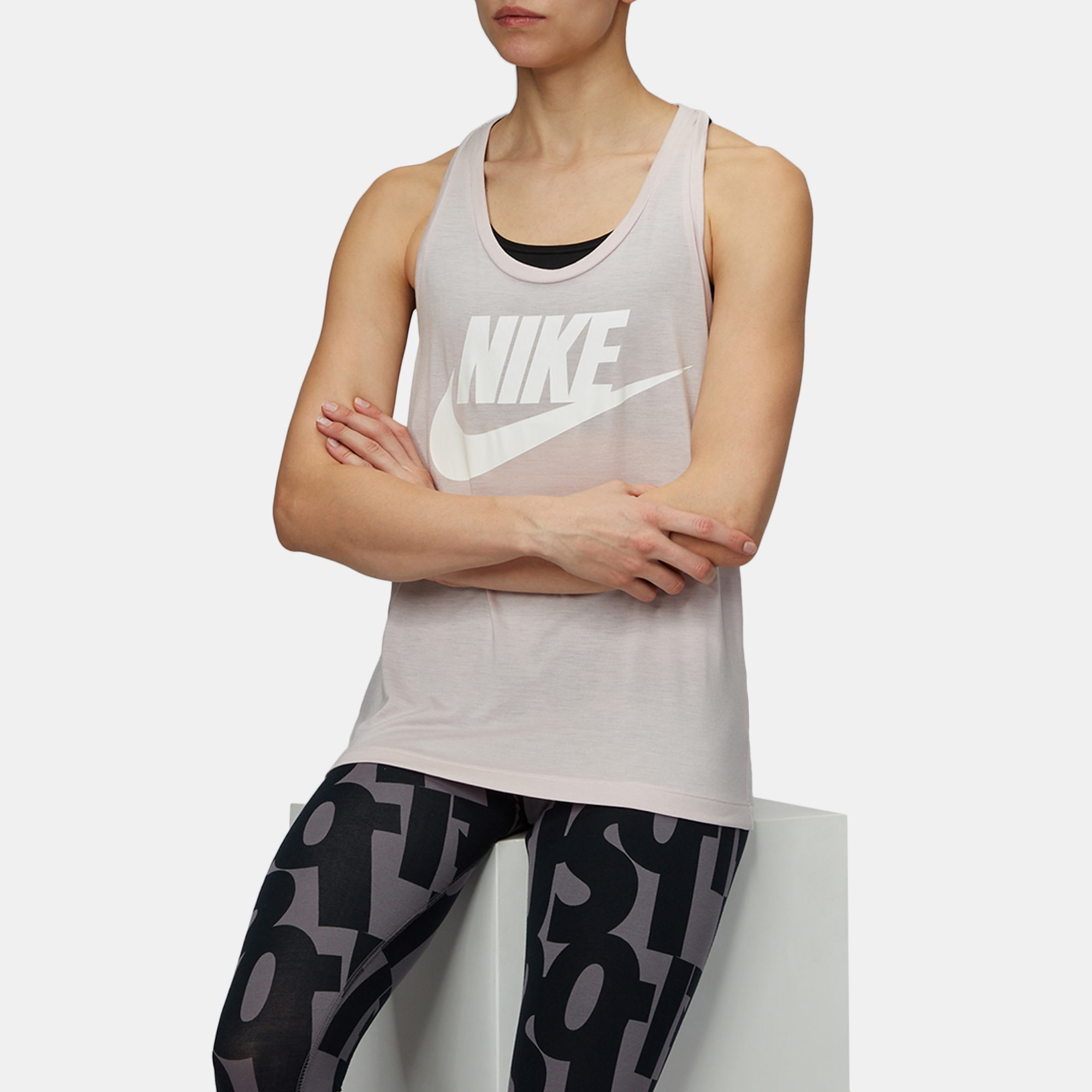 d9864d04a92823 Shop Pink Nike Sportswear Essential HBR Tank Top for Womens by Nike ...